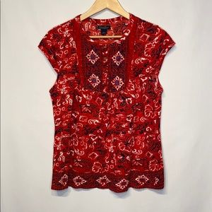 Lucky Brand Red Boho T-shirt Size Large